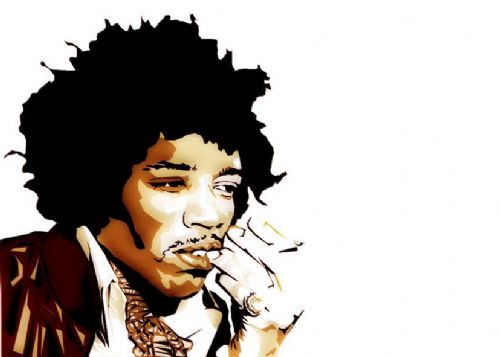 JIMI  HENDRIX - cut out art cream canvas print - self adhesive poster - photo print